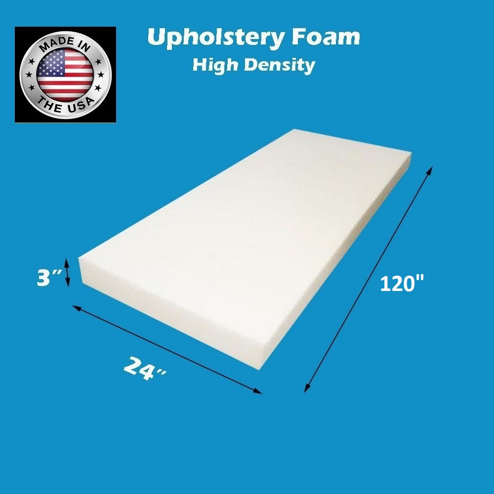 FoamTouch Upholstery Foam Cushion High Density 3 Height x 30 Width x 96 Length Made in USA