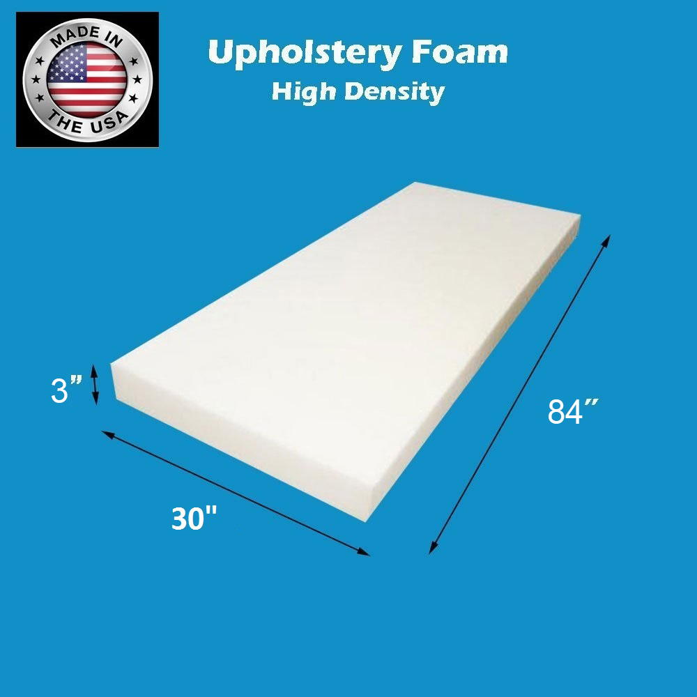 "24/"" Wide x 84/"" Long Medium Density Foam Upholstery  4/"" Thick"